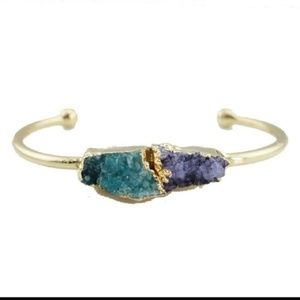 Druzy cuff bangle bracelet  -green & purple